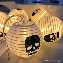 Baterías de cráneo online-Cráneo de Halloween 1M 10LED cadena de luz Garland paquete de baterías de dispositivos Año Nuevo Decoraciones de Navidad Adornos de Navidad de Halloween Inicio