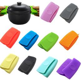 pentole in gomma Sconti Silicone Oven Mitt Guanto dell'isolamento termico della casseruola Ear Pan Pot Holder Forno Grip Anti-Hot Pot cucina della clip Accessori LJJA3464-1