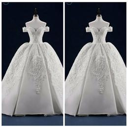 Imagens de off on-line-Alças Lace apliques vestido de baile vestidos de casamento Bandage Voltar 2020 vestidos de noiva longa personalizada Train real Pictures Casamento Wear