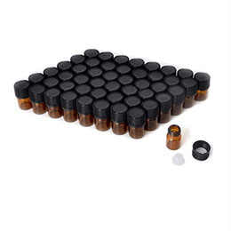 Frascos de aceite esencial viales online-Botellas de aceite para aceites esenciales Botellas de muestra de botellas de vidrio de ámbar de 2 ml / 1 ml con reductores de orificio y tapas negras