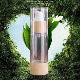 bottiglia di siero della pompa Sconti Bamboo imballaggio cosmetico bottiglia 20ml 30ml 50ml 80ml 100ml 120ml Svuotare Airless Bottiglie pompa a vuoto per il trucco Crema siero lozione Cura della pelle