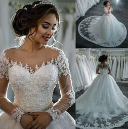 2019 vestido de noiva com vestido de bola Robe de mariage vestido de baile vestido de casamento mangas compridas pele de tule vestidos de casamento de luxo frisada vestidos de noiva vestido de novia