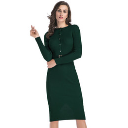 ca5c490bf484 2019 abiti lunghi a maglia delle donne Slim Fit Womens Dress a maniche  lunghe Knit Dress