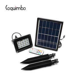 6v lithiumbatterien online-Wasserdichte 20 * RGB 5050LED 6V * 3W Solarpanel Solarlampe Eingebaute Lithiumbatterie Mit Fernbedienung Solargartenlampe