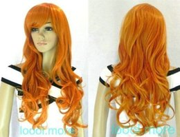 Pelucas de color naranja oscuro online-shun wig.02193 Fastshipping long Wavy Dark Orange Cosplay Anime party Peluca sintética