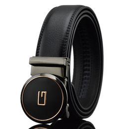 hebillas de cinturón de letra g Rebajas Cinturones de diseño KAWEIDA para hombres 2018 Letter G Metal Hebilla automática Círculo Cinturón Cinturón de cuero dividido genuino para jeans
