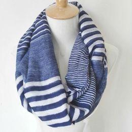 Bufanda azul marino online-Visual Axles Winter Chunky Infinity Scarf Nueva moda Suave viscosa Navy Striped Ring Loop Infinity bufandas para mujeres / damas