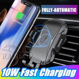 qi habilitou carregador sem fio Desconto NOVO 10 w qi carregador de carro sem fio rápido carregamento de carregamento suporte do carro suporte do telefone air ventgrip para iphone xs max samsung s10 plus qi-enabled