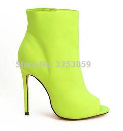 ALMUDENA Kadınlar Peep Toe Ayak Bileği Stiletto Topuk Patik Neon Sarı Kırmızı Fuşya Siyah Süet Ayak Bileği Çizmeler Gladyatör Elbise Ayakkabı Pompaları supplier black fuchsia heels nereden siyah fuşya topuklu ayakkabı tedarikçiler