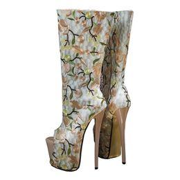 Сапоги с открытыми носками онлайн-Горячая распродажа-женская вышивка цветы с открытым носком высокие каблуки ботильоны колено платформы молния сексуальные ну вечеринку танцевальные сапоги