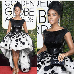 plus size maternity spring summer dresses Coupons - Sexy Janelle Monae Celebrity Party Dresses Black and White Sequins Handmade Flowers Tulle 2020 New Golden Globe Prom Evening Gown