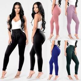 Ceinture de pantalon en Ligne-Bandage élastique long pantalons pour femmes taille haute pantalon crayon décontracté ceinture arc maigre crayon pantalon leggings jeggings