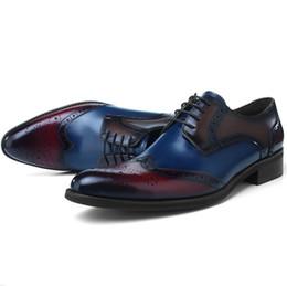 moda formal sapato para o sexo masculino Desconto CLORISRUO Brogues Moda Sapatos de Baile Sapatos de Vestido Dos Homens de Couro Genuíno Oxfords Negócio Masculino Noivo Do Casamento Formal