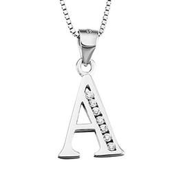 Argentina S925 Zirconia Cúbica de Plata de ley 26 Letras Iniciales Alfabeto Colgante Personalizado Collar de Cadena de Serpiente Collar de Joyería Al Por Mayor Suministro