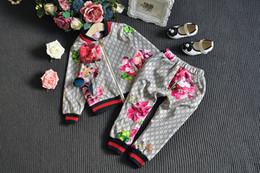 Canada En stock 2019 Bébé Automne Floral Vêtements Set Enfants Garçon Fille Fille À Manches Longues À Capuche Top + Pantalon À Fleurs 2 Pcs Costumes Survêtement Survêtement Tenues Offre