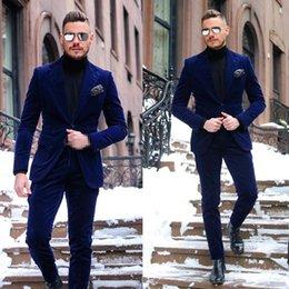 herren samt tuxedo jacke Rabatt Dark Blue One Button Velvet Mens Prom Anzüge fallendem Revers Promi-Hochzeit Anzüge für Herren Smoking Zwei Stücke Blazer (Jacket + Pants)
