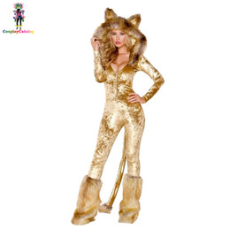 ef382fa712a Furry Velvet Adult Women Halloween Costumes Adult Party Animal Sexy Lion  Costume Faux Fur Deluxe Long Sleeve Female Romper