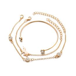 2019 kristall-einhörner Einhorn Armband Gliederkette Kristall Diamant Manschette Offene Armreif Gold Silber Frauen Charme Armbänder 3 teile / satz günstig kristall-einhörner