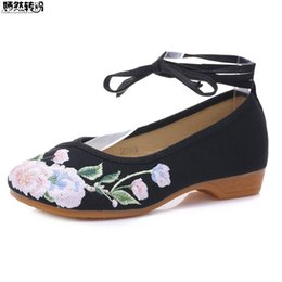 285261c4f1c4 Vintage Women Flats Ladies Floral Embroidery Ballet Shoes Ethnic Lace Up  Cloth Spring Low Heel Shoes Woman Sapato Feminino