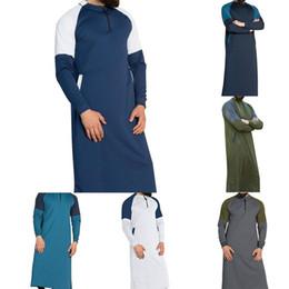 vestiti musulmani uomini Sconti 2019 Colletto con cerniera Abbigliamento lungo Top Uomo Vestaglia abito musulmano Maglietta uomo saudita Maglietta manica lunga Patchwork autunno