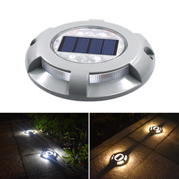 Luces de carretera solar led online-Luz solar subterránea Road Stud Lighting Aluminio 4 LED Sensores Luces de ladrillo al aire libre Calzada Dock Path Ground Light Lamp