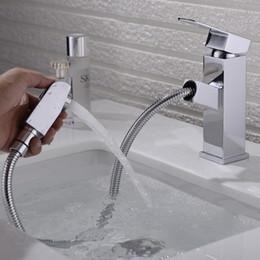 Lavabo del baño Grifo Grifo de agua Extraer Boquilla de pulverización Latón macizo Sola manija Mezclador de grifo de agua fría desde fabricantes