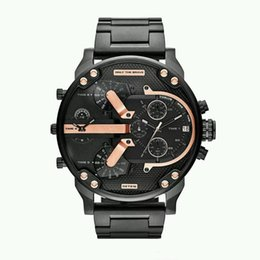 Alta calidad de lujo para hombre reloj marca gran dial relojes militares dos zonas horarias de cuarzo relojes deportivos reloj regalos relogio masculino desde fabricantes