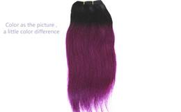 dunkle lila menschliche haarverlängerungen Rabatt 9a brasilianische glatte haarverlängerungen farbe 1b / dark purple peruanische malaysische 100% reines menschenhaar spinnt ombre zweifarbig 10-18 zoll