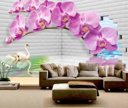 Orchidea 3d online-Personalizzato Any Size Wallpaper 3d Stereo Orchid Swan Soggiorno camera da letto Sfondo decorazione della parete Carta da parati