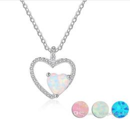 diseños de oro rubí Rebajas Conjuntos de joyas de plata anillo de ópalo collar de alta calidad blanco 3A circonita cúbica en forma de corazón colgante para las mujeres accesorios de moda envío gratis co