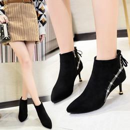 92806b1446 2019 new arrival Moda Sapatos de Salto Alto Ankle Boots Mulher Designer de  Marca Vestido de Festa Sexy Dedo Apontado Salto Fino botas Quentes