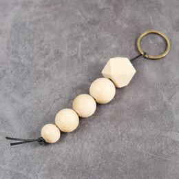 llavero natural Rebajas cuentas de madera geométricas naturales llavero llavero llavero llaveros para mujer