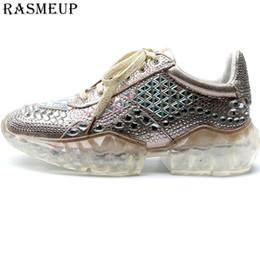 RASMEUP Zapatillas de deporte para mujer con brillos de cristal 2019 Zapatillas con plataforma para mujer de moda Zapatos de mujer con diamantes de imitación de oro plateado desde fabricantes
