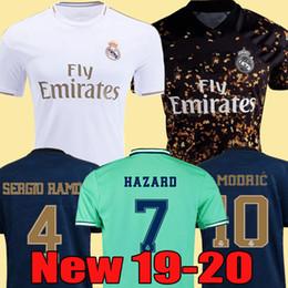 Pullover per calcio di calcio online-2019 2020 Real Madrid Soccer Jersey HAZARD home away adult soccer shirt ASENSIO ISCO MARCELO madrid 19 20 kids kit Football uniforms