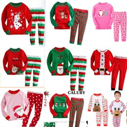 2019 nuevo estilo de ropa para niños Venta al por menor 34 estilos Nuevos niños niñas Conjuntos de ropa de Navidad Pijamas de manga larga Conjuntos de conjuntos de 2 piezas (camiseta + pantalón) Conjunto de niños de Navidad Ropa de boutique nuevo estilo de ropa para niños baratos