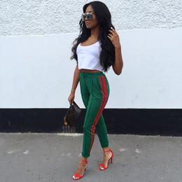 2019 женские дизайнерские повседневные брюки модные женские тонкие красные полосатые брюки карандаш высокого качества женские повседневные узкие брюки зеленый черный cheap slim black trousers womens от Поставщики черные брючные женские брюки
