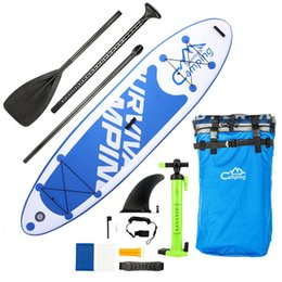 """Soportar inflable online-Forme 10'10 """"SUP inflable para adultos Stand Up Paddle Board PVC EVA Blanco Azul Oscuro Color Negro"""