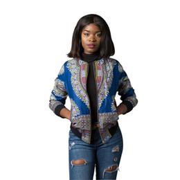 Sudadera etnica online-Ropa Dashiki étnica de manga larga Retro Chaquetas Tops Mujeres Sexy Stand Collar Casual Streetwear Sudadera con estampado africano