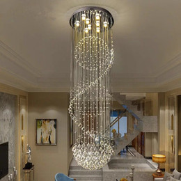lámpara de araña en espiral Rebajas Moderna araña de cristal Esfera LED moderna Esfera en espiral Gota de lluvia K9 Lámpara de techo para escaleras Escalera Lámpara Salón Salón del hotel