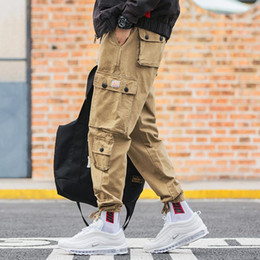 Vaqueros hipsters online-Men`s Hi-Street Style Cargo Pants Jeans Multi-pockets Outwear Hip Hop Loose Fit Male Harem Trousers For Hipster Joggers