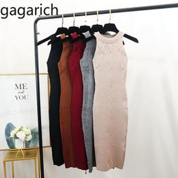 robes de femmes minces Promotion Gagarich Femmes Robe Printemps Eté 2019 Nouveau Sexy Tricotée Fond Sexy Oblot Collé Robes Slim