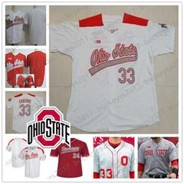 Бейсбольные штаты онлайн-Пользовательские штат Огайо Buckeyes 2019 NCAA колледж бейсбол серый белый красный сшитые любое число имя 1 Брэди Черри 33 Доминик Кэнзоне Джерси S-4XL