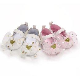 Zapato suave rosa bebé online-0-1T primer caminante niña primavera verano rosa blanco suave inferior antideslizante sandalias zapatos de princesa precio al por mayor