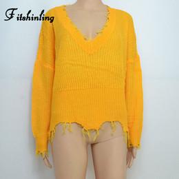 d29e10d74dd1 Fitshinling Fringe cuello en v suéter de dama jersey de punto amarillo moda  2019 invierno mujer suéteres y jerseys tamaño grande tirón