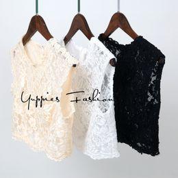 Hacer camisetas personalizadas online-[por encargo] Tops de encaje mujeres sin mangas blanco con cuentas Crop Top espalda cremallera botones chaleco tanque Blusas Camisa Y19042801