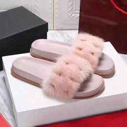 Chaussures de vison en Ligne-2019 femmes rivets cheveux de vison sandales designer chaussures luxe été mode sandales plates pantoufle bascule taille 35-40