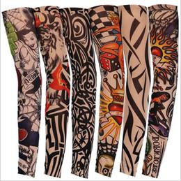 2019 tatuajes de peces Manga del tatuaje Al aire libre Ciclismo Cuerpo Brazo anti-UV Protección solar Pesca Conducción Tatuaje Brazo Medias Manga elástica sin costura Mitones B5243 tatuajes de peces baratos