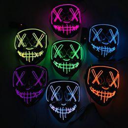 2019 neon crani dei luci Neon LED Maschera di Halloween Glow In Dark Mask Light Up Scary Skull Maschera divertente Maschere Masquerade Masks Party Cosplay Fornitura regalo DBC VT0382 neon crani dei luci economici