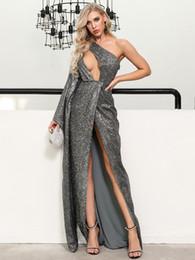 2019 vestidos baratos da corrente Popodion vestido de noite manga longa vestido de lantejoulas formais de noite sexy dhWED90025 vestido