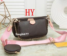 2019 sacos de designer marrom escuro favorito pochette acessórios de couro bolsa de grife de luxo bolsa L flor ombro crossbody Messenger Bag bolsas 3 pcs combinação sacos